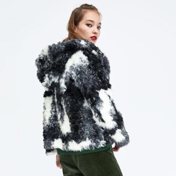 Zara Jackets Coats Black Grey White Faux Fur Jacket Coat Poshmark